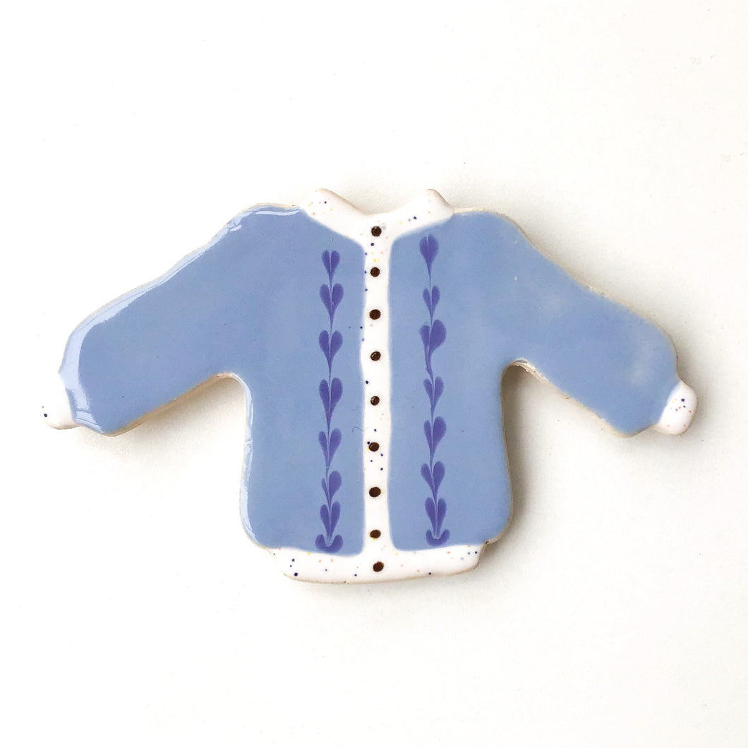 Sweater Magnet - Blue Cardigan with Hearts