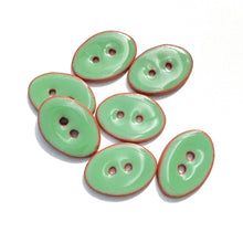 "Load image into Gallery viewer, Grassy Green Oval Clay Buttons - 5/8"" x 7/8"" - 7 Pack"