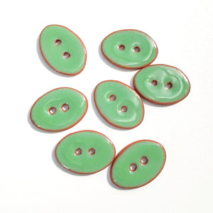 "Grassy Green Oval Clay Buttons - 5/8"" x 7/8"" - 7 Pack"