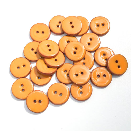 Orange Ceramic Buttons - Clay Buttons - 3/4