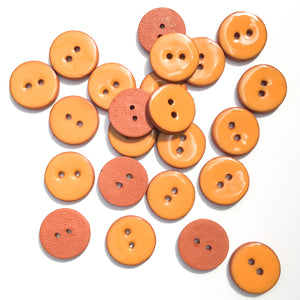 Orange Ceramic Buttons - Clay Buttons - 3/4""