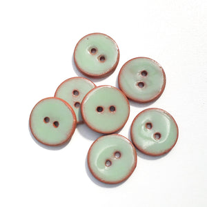 "Light Green Ceramic Buttons - Clay Buttons - 3/4"" - 7 Pack"