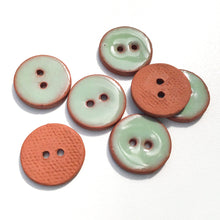 "Load image into Gallery viewer, Light Green Ceramic Buttons - Clay Buttons - 3/4"" - 7 Pack"