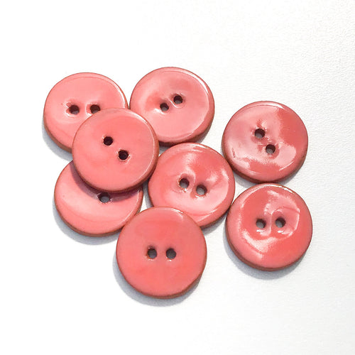 Salmon Pink Ceramic Buttons - Clay Buttons - 3/4