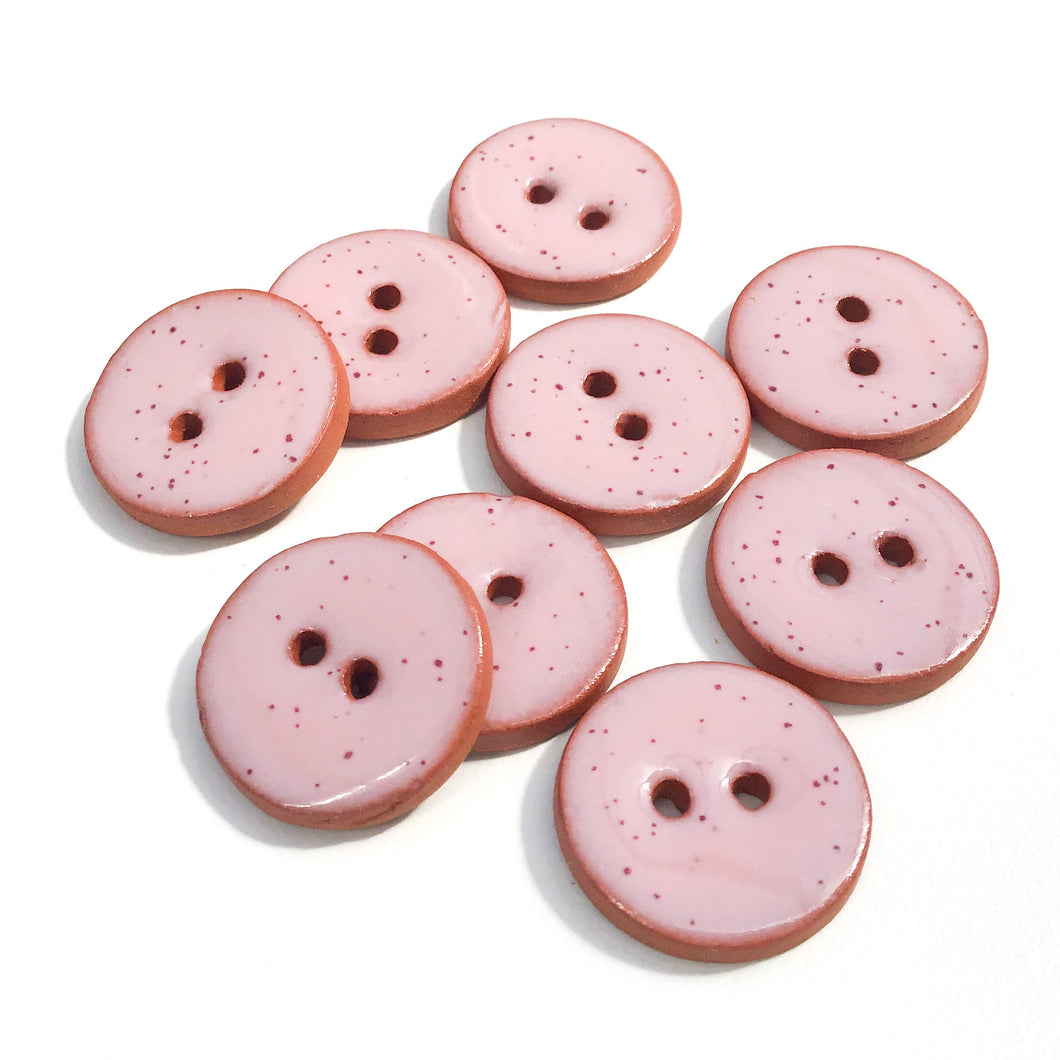 Speckled Pink Ceramic Buttons - Clay Buttons - 3/4