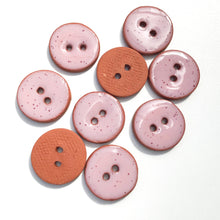 "Load image into Gallery viewer, Speckled Pink Ceramic Buttons - Clay Buttons - 3/4"" - 9 Pack (ws-228)"