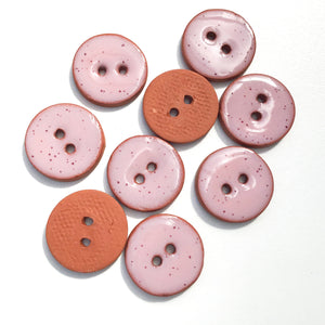 "Speckled Pink Ceramic Buttons - Clay Buttons - 3/4"" - 9 Pack"