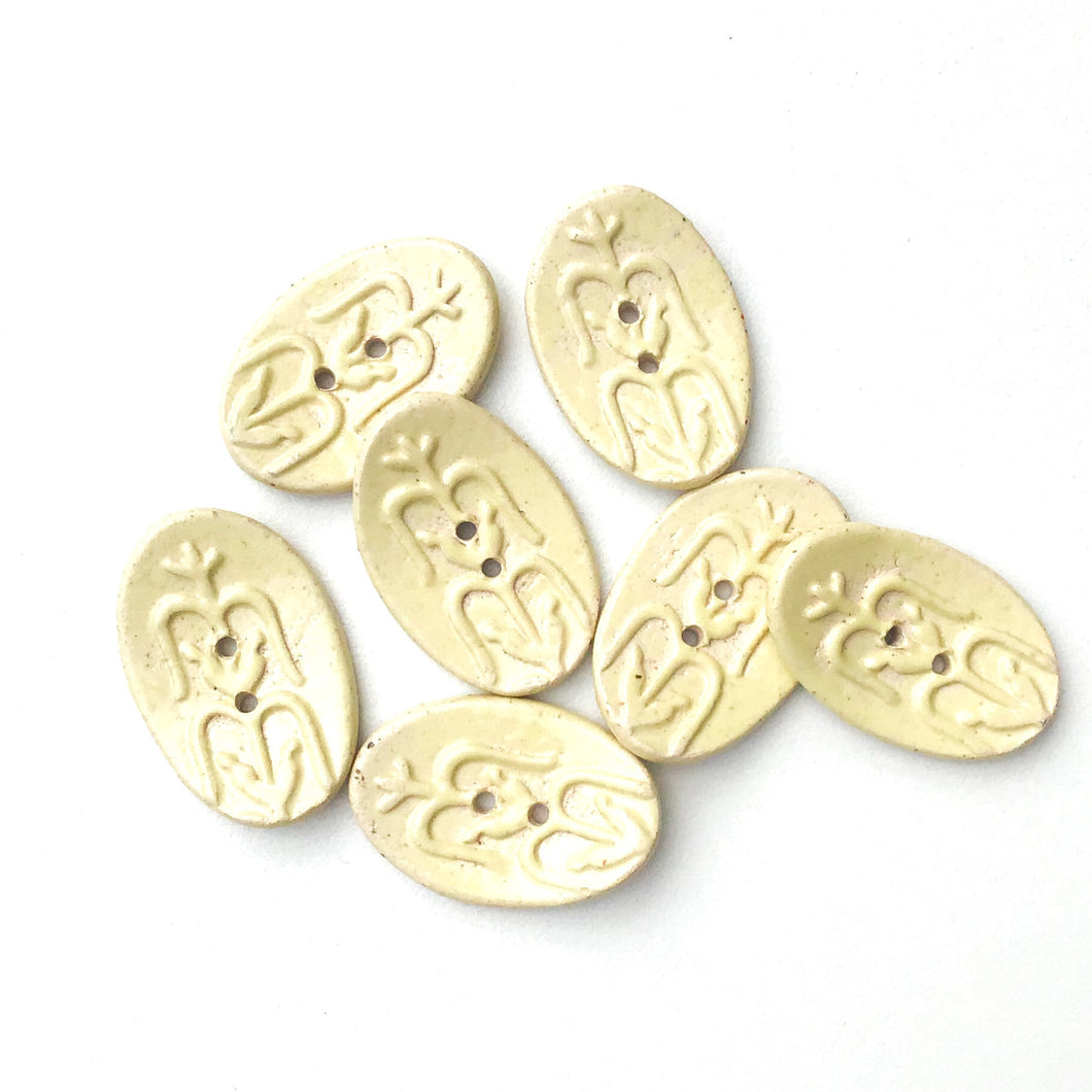 Southwestern Corn Buttons - Creamy Yellow Ceramic Buttons - 3/4