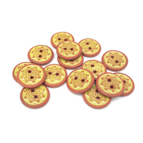 Chartreuse Mandala Ceramic Buttons - Small Yellow Ceramic Buttons - 9/16