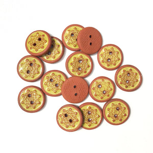 "Chartreuse Mandala Ceramic Buttons - Small Yellow Ceramic Buttons - 9/16""(ws-48)"