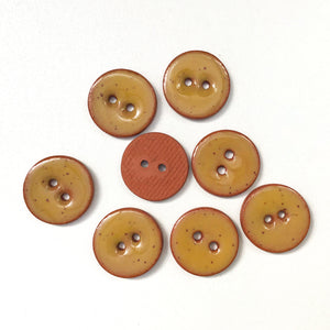 "Speckled Mustard Brown Ceramic Buttons - Clay Buttons - 5/8"" - 8 Pack"