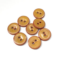 "Load image into Gallery viewer, Speckled Mustard Brown Ceramic Buttons - Clay Buttons - 5/8"" - 8 Pack"
