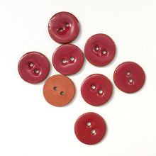 "Load image into Gallery viewer, Wine Red Ceramic Buttons - Clay Buttons - 5/8"" - 8 Pack"