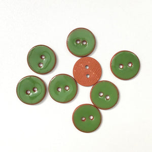 "Kelly Green Ceramic Buttons - Green Clay Buttons - 5/8"" -8 Pack"