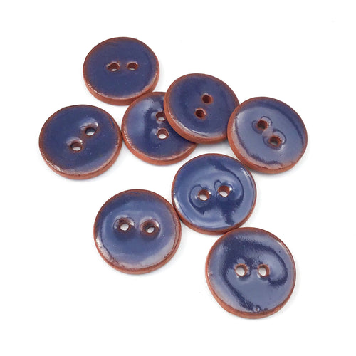 Dark Blue Ceramic Buttons - Blue Clay Buttons - 3/4