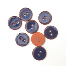 "Load image into Gallery viewer, Dark Blue Ceramic Buttons - Blue Clay Buttons - 3/4"" -8 Pack (ws-61)"