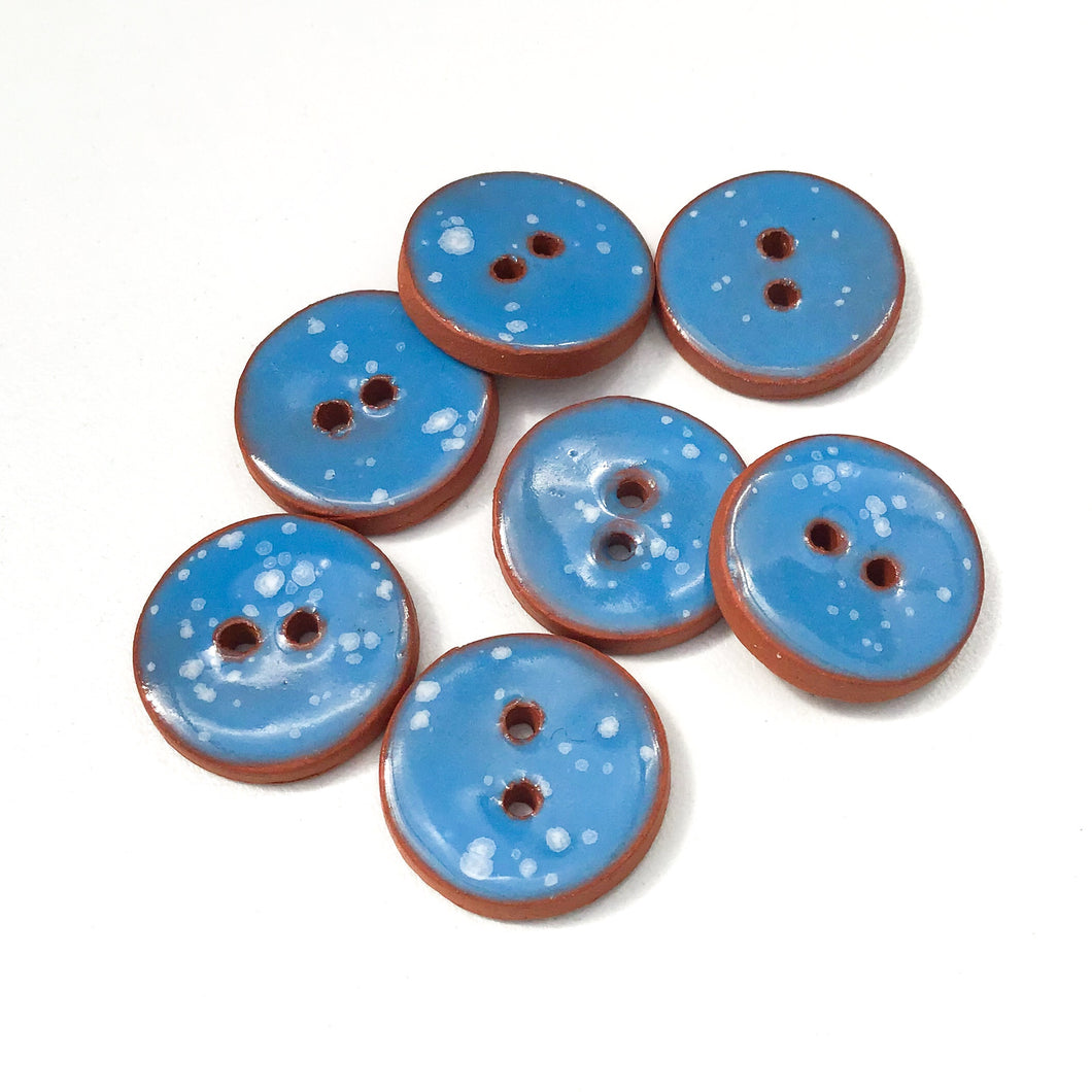 Speckled Blue Ceramic Buttons - Bright Blue Clay Buttons - 3/4