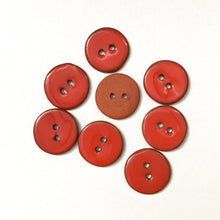 "Load image into Gallery viewer, Canary Red Ceramic Buttons - Red Orange Clay Buttons - 3/4"" - 8 Pack"