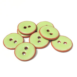"Lime Green Ceramic Buttons - Small Round Ceramic Buttons - 1/2"" - 8 Pack"