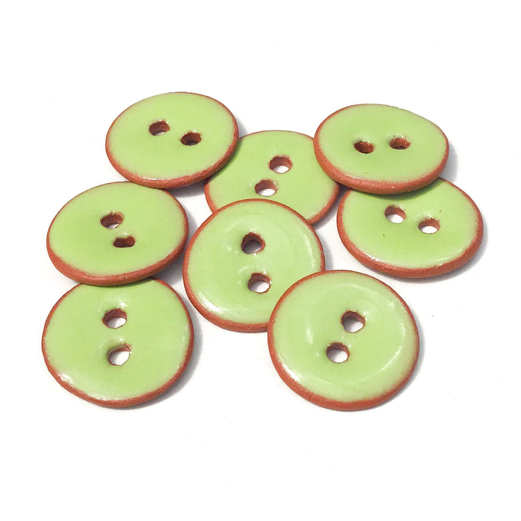 Lime Green Ceramic Buttons - Small Round Ceramic Buttons - 1/2