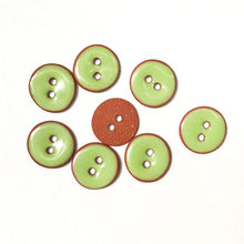 "Load image into Gallery viewer, Lime Green Ceramic Buttons - Small Round Ceramic Buttons - 1/2"" - 8 Pack"