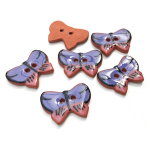 "Ceramic Butterfly Buttons - Pink and Purple Butterfly Buttons - 5/8"" x 7/8"" - 6 Pack"