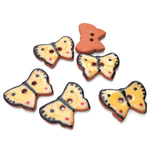 "Ceramic Butterfly Buttons - Yellow and Black Butterfly Buttons - 5/8"" x 7/8"" - 6 Pack"