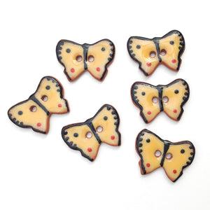 "Ceramic Butterfly Buttons - Yellow and Black Butterfly Buttons - 5/8"" x 7/8"" - 6 or 8 Pack"