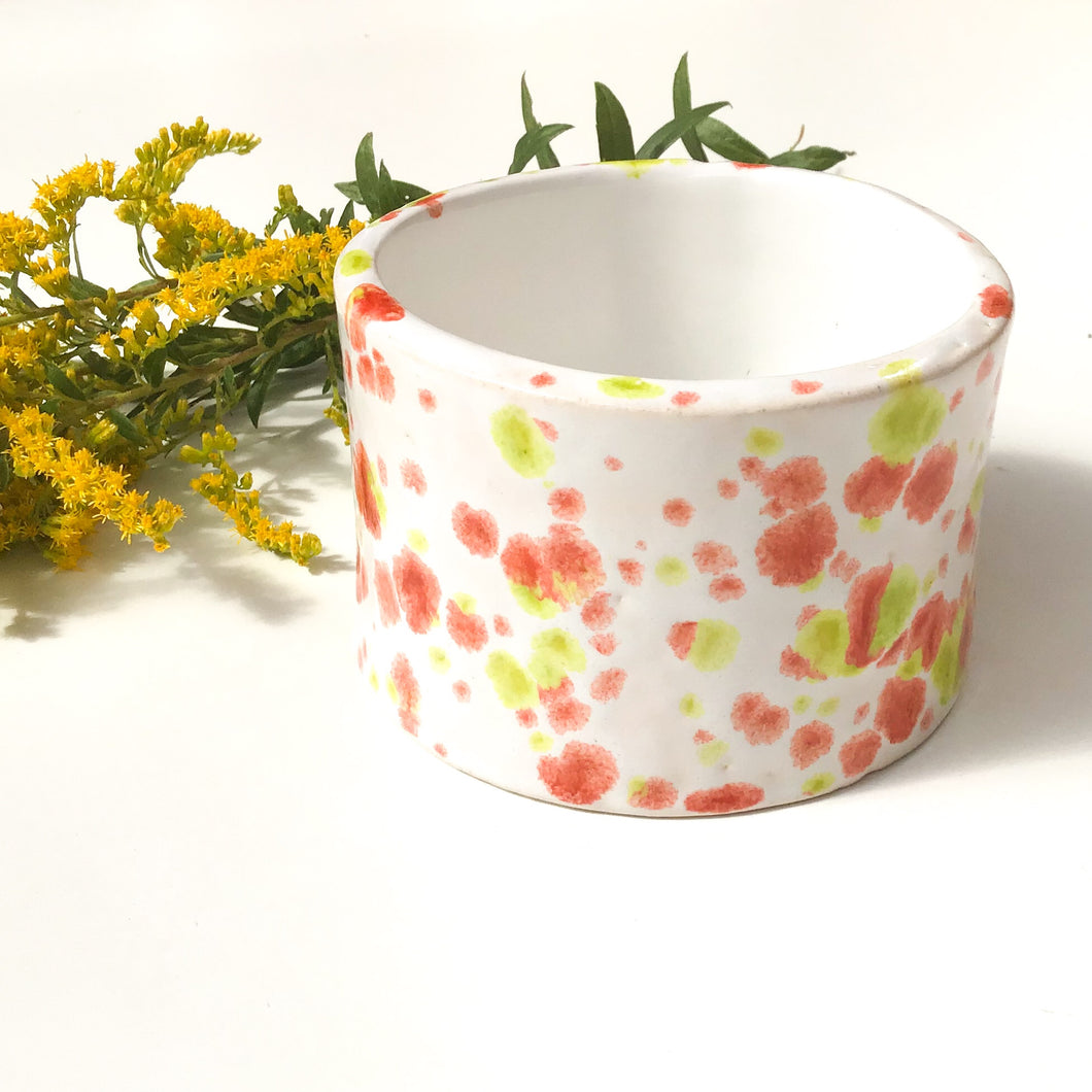 Handcrafted Ceramic Vessel - Chartreuse & Pinkish Red Speckleware