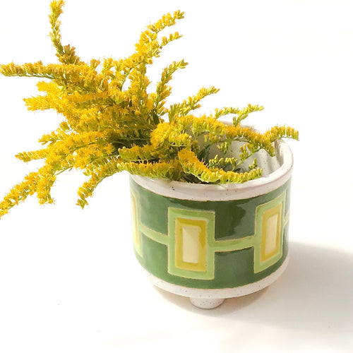 Handcrafted Ceramic Planter - Quilted Pattern in Vivid Greens over Speckled White Glaze