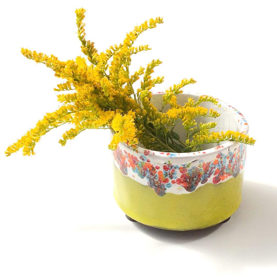 Handcrafted Ceramic Planter - Chartreuse & Vivid Color Contrast Plant Pot