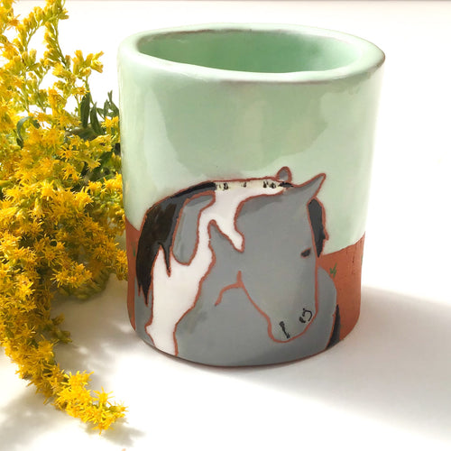 Horse Vase - Pencil Holder - Decorative Ceramic Horse Vessel