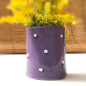 Purple Bud Vase - Pencil Holder - Decorative Ceramic Vessel