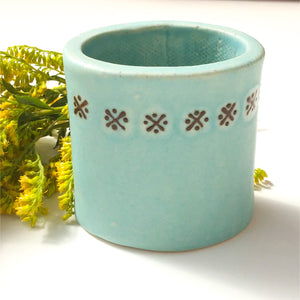 Robin's Egg Blue Bud Vase - Desk Caddy - Decorative Ceramic Vessel