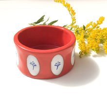 Load image into Gallery viewer, Red & White Pot with Blue Floral Design - Decorative Ceramic Vessel