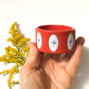 Red & White Pot with Blue Floral Design - Decorative Ceramic Vessel