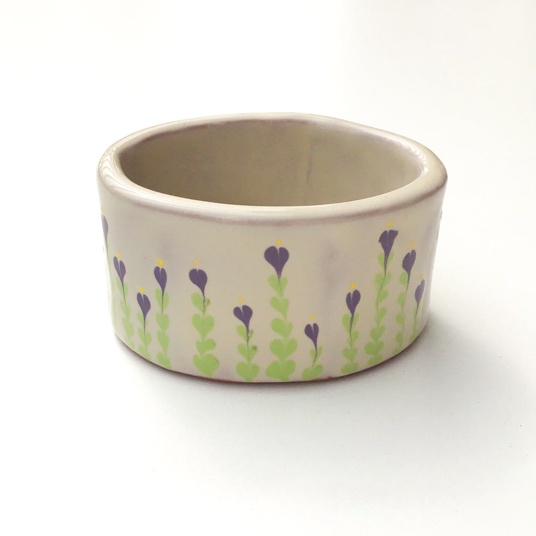 Oval Ceramic Bowl - Decorative Purple Flower Bowl