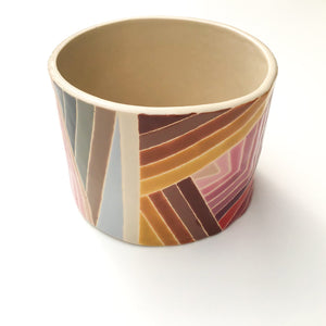 Handcrafted Ceramic Vessel - Colorful Quilted Stripes in Clay
