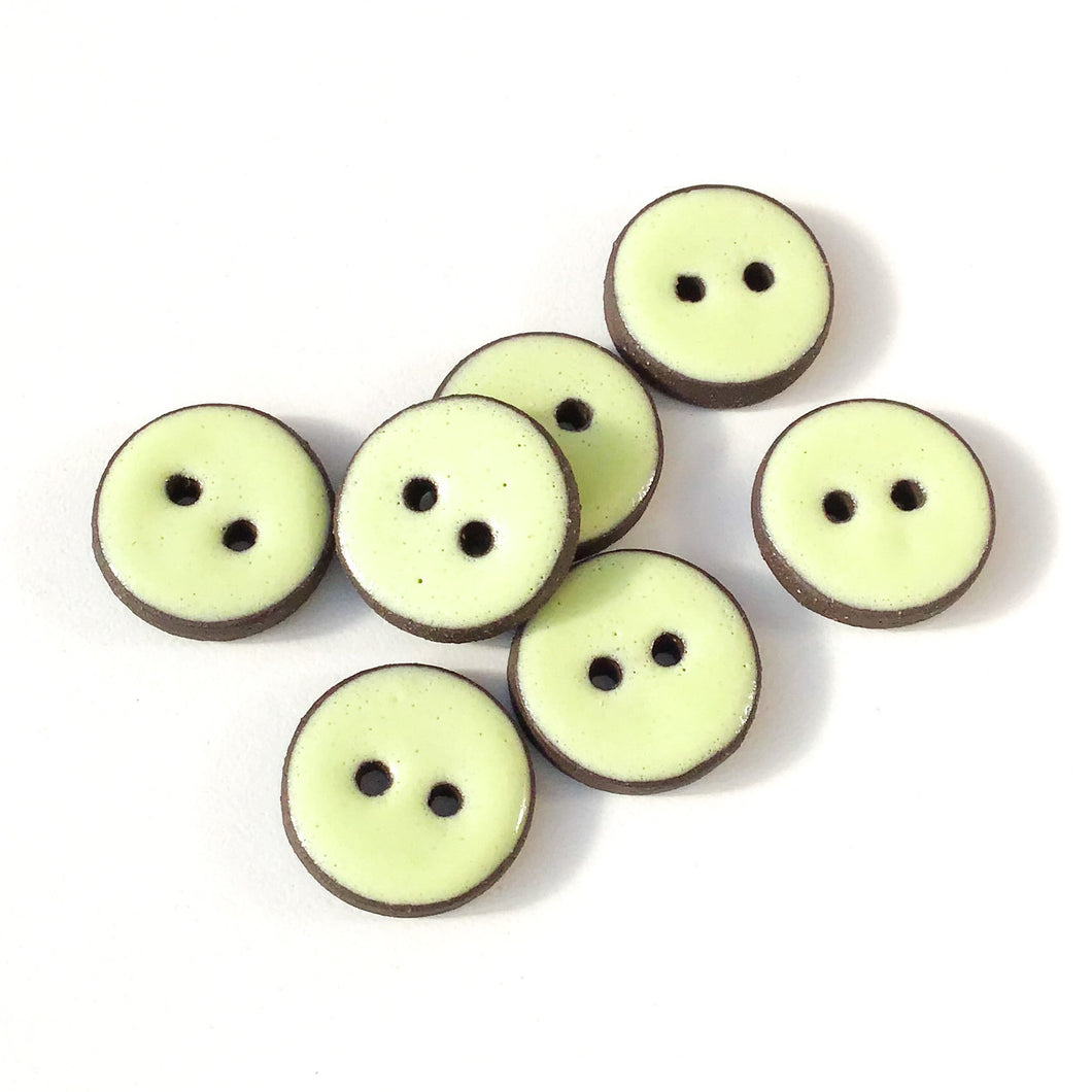 Pastel Green Ceramic Buttons - Light Green Clay Buttons - 3/4