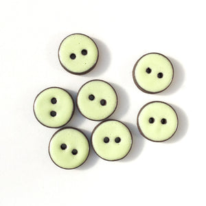"Pastel Green Ceramic Buttons - Light Green Clay Buttons - 3/4"" - 7 Pack"