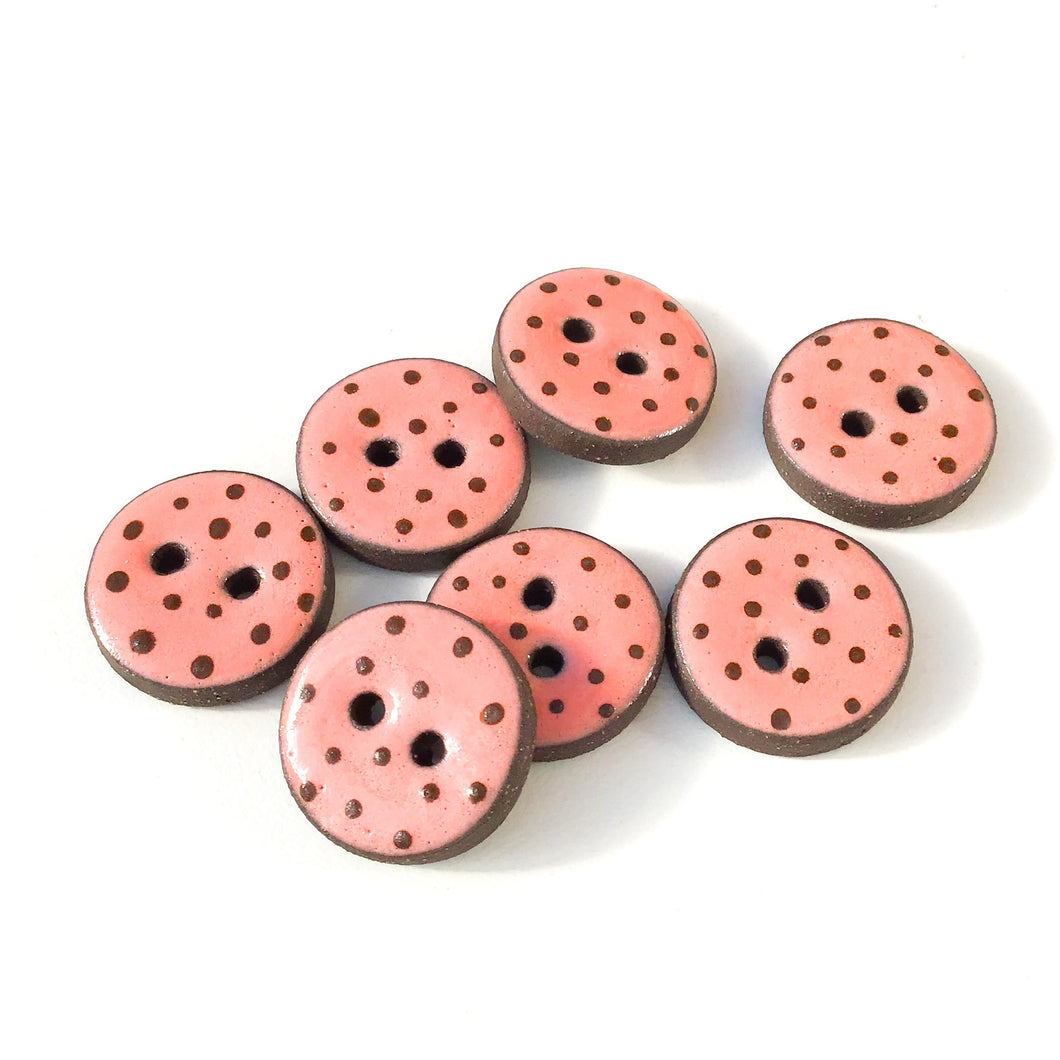 Salmon Pink Polka Dot Ceramic Buttons -  Clay Buttons - 3/4