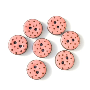 "Salmon Pink Polka Dot Ceramic Buttons -  Clay Buttons - 3/4"" - 7 Pack"