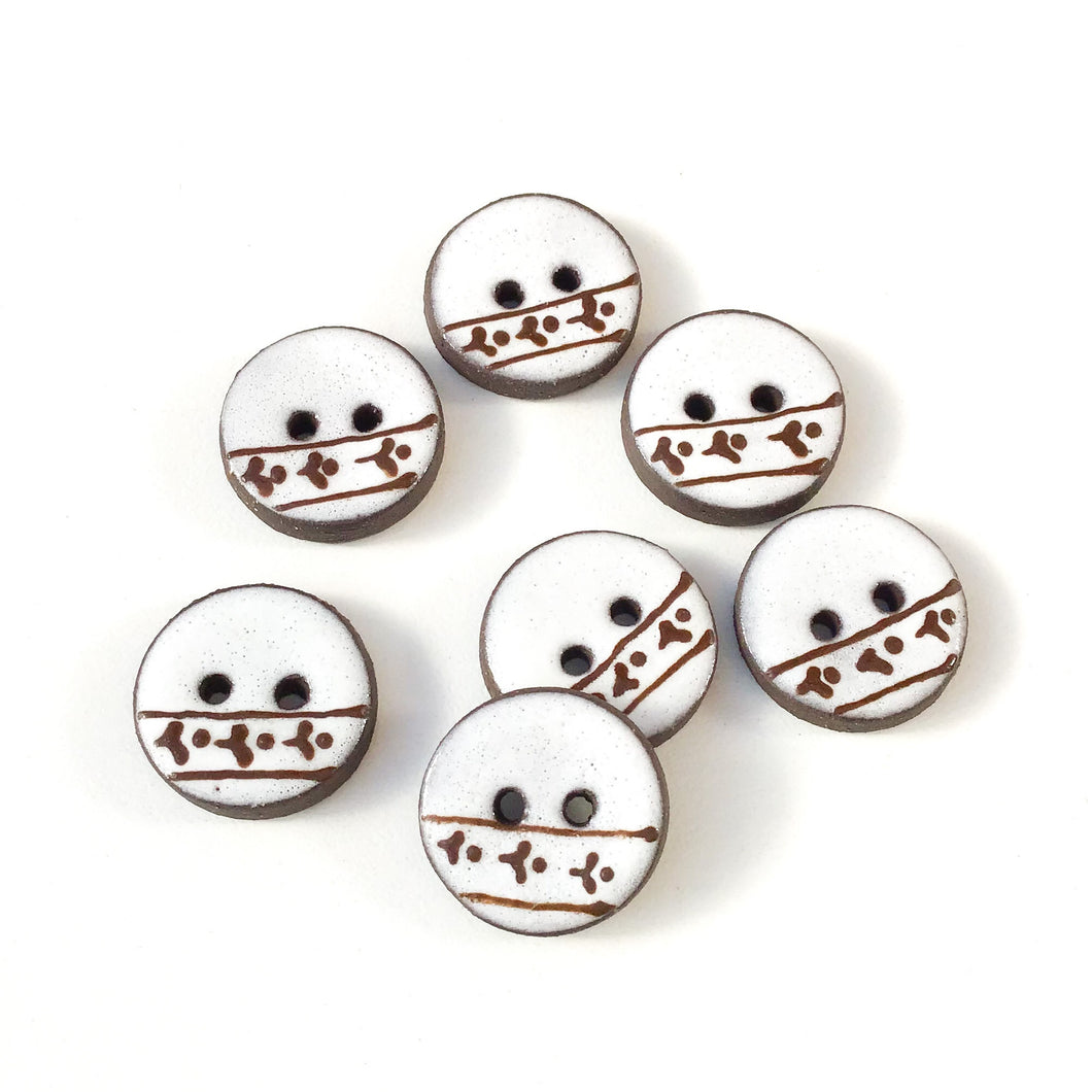 White Ceramic Buttons with Brown Floral Detail - Clay Buttons - 3/4