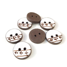 "Load image into Gallery viewer, White Ceramic Buttons with Brown Floral Detail - Clay Buttons - 3/4"" - 7 Pack (ws-266)"