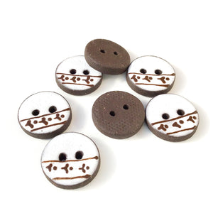 "White Ceramic Buttons with Brown Floral Detail - Clay Buttons - 3/4"" - 7 Pack (ws-266)"