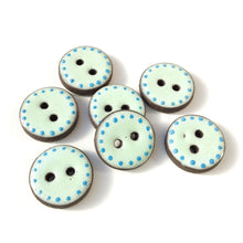 "Load image into Gallery viewer, Aqua Blue Polka Dot Trim Ceramic Buttons - Clay Buttons - 3/4"" - 7 Pack (ws-4)"