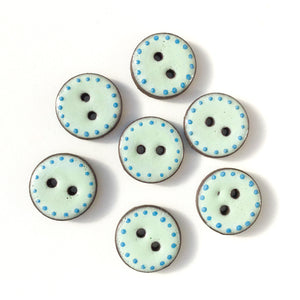 "Aqua Blue Polka Dot Trim Ceramic Buttons - Clay Buttons - 3/4"" - 7 Pack (ws-4)"