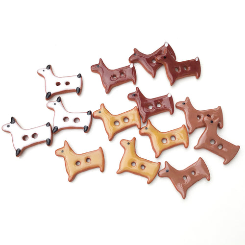 Terrier Dog Buttons - Ceramic Dog Buttons - 5/8