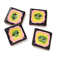 "Load image into Gallery viewer, Retro Square Buttons in Vivid Colors - Black - Salmon - Chartreuse - Green - 1"" Square"