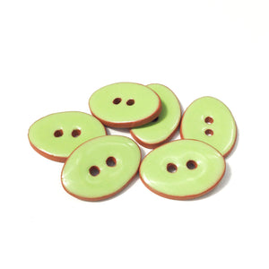 "Lime Green Oval Clay Buttons - 5/8"" x 7/8"" - 6 Pack (ws-124)"